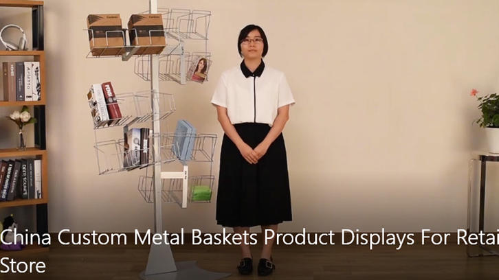 China Custom Metal Baskets Product Displays For Retail Store