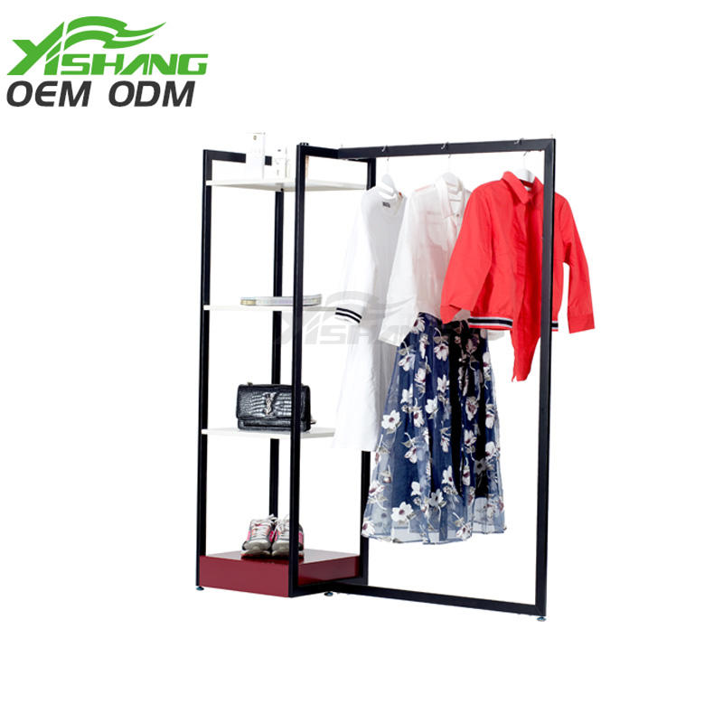 Custom Metal Clothing Display Rack with Shelves for Shops