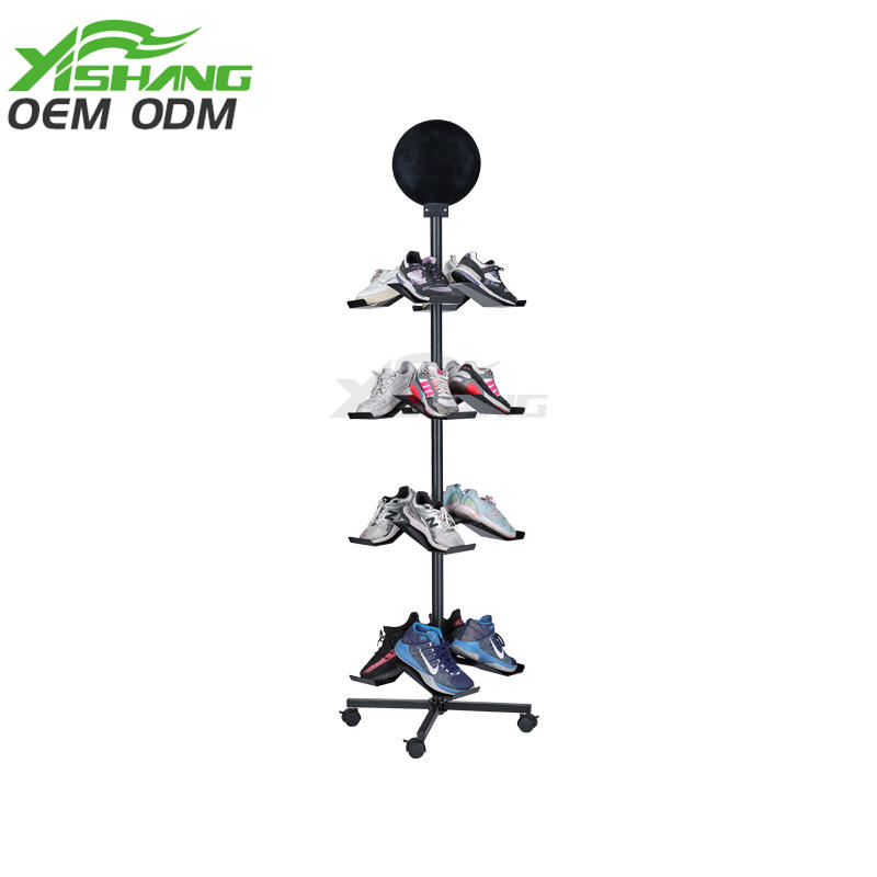 Custom Free Standing Rotating Shoe Store Metal Display Racks