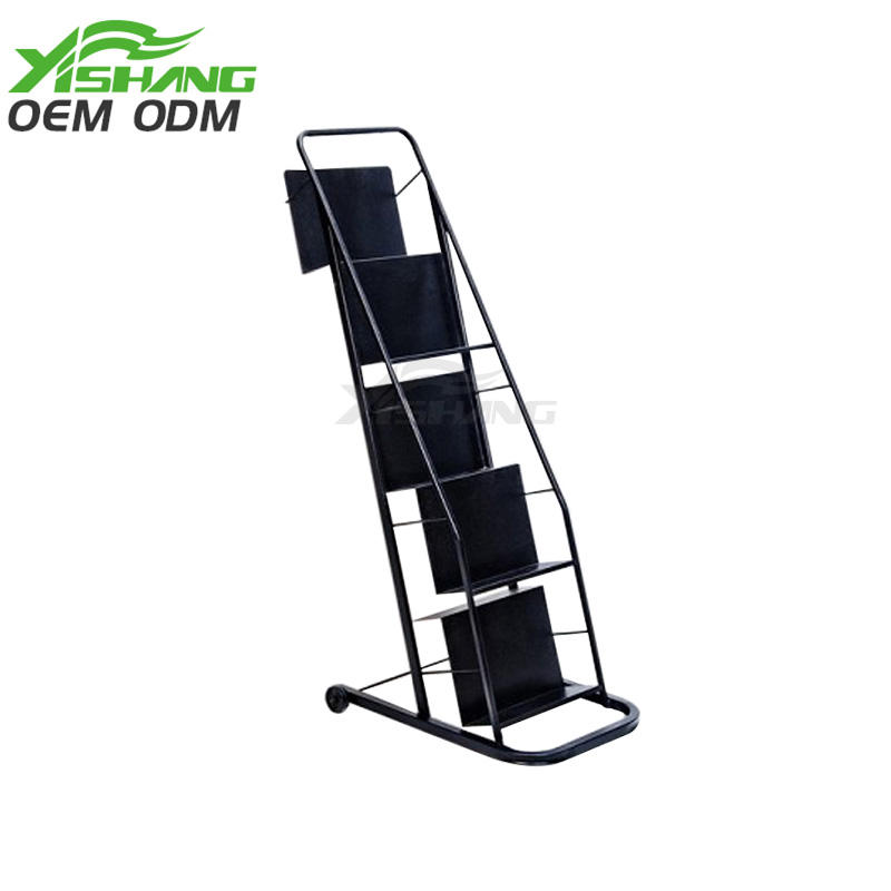 5 Tiers Metal Book Display Stand With Wheels  YS-1900008