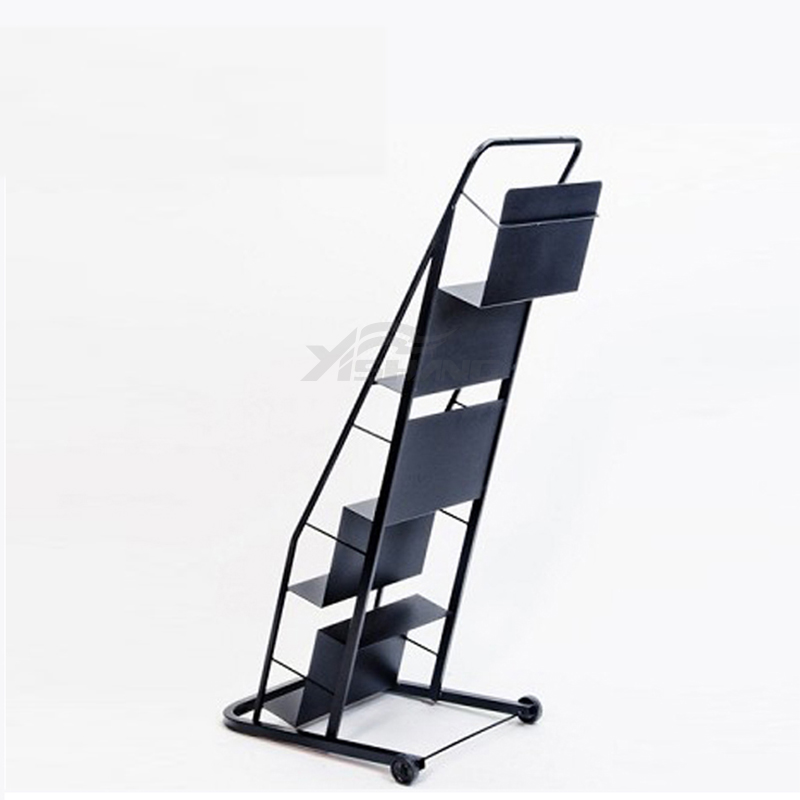 YISHANG  5 Tiers Metal Book Display Stand With Wheels  YS-1900008 Book Display image29