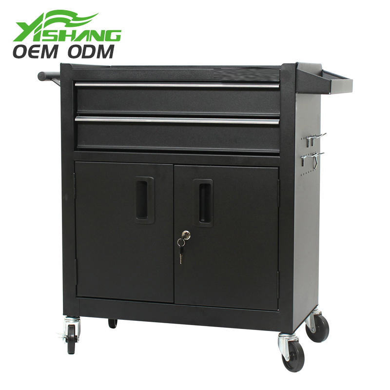 Custom Black Lockable Metal Tool Cabinet on Wheels