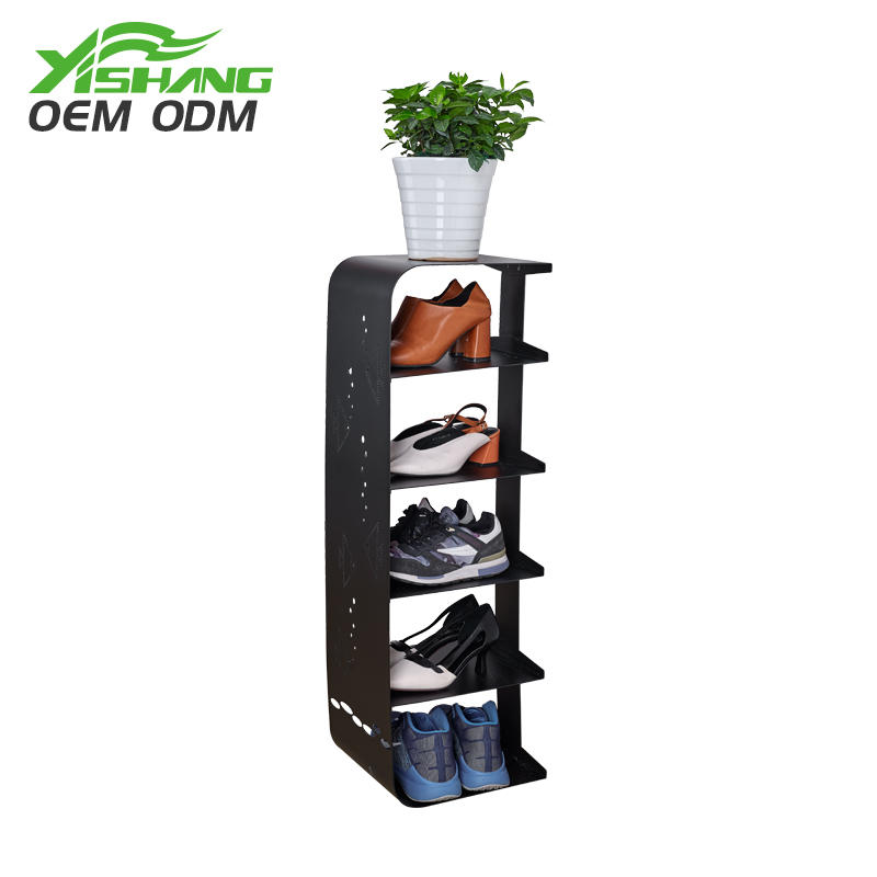 Custom Modern Black Narrow Metal Shoe Rack