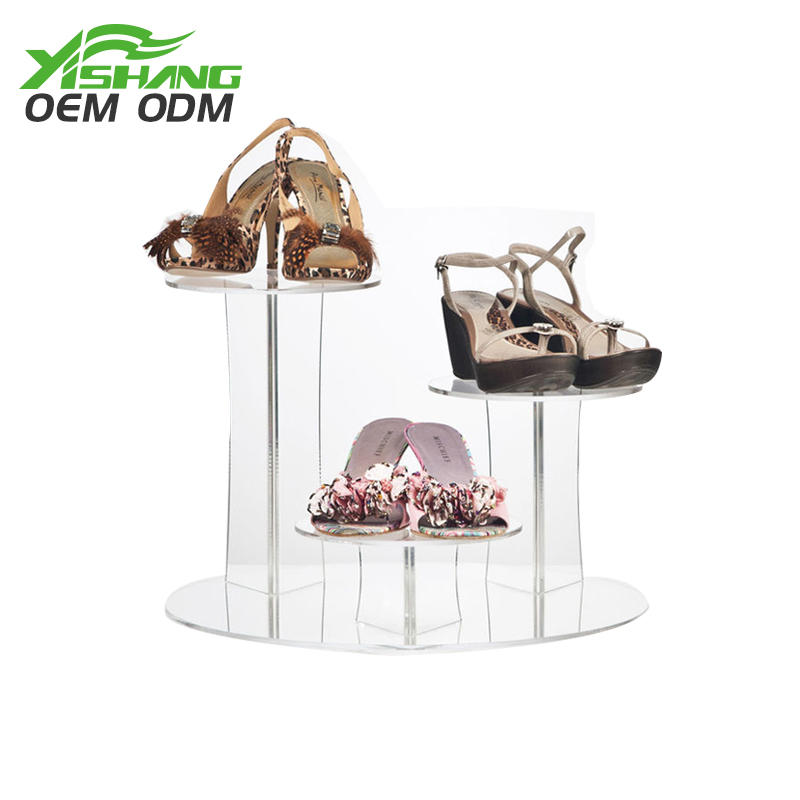 Custom Clear Acrylic Shoe Display Stand for Countertop