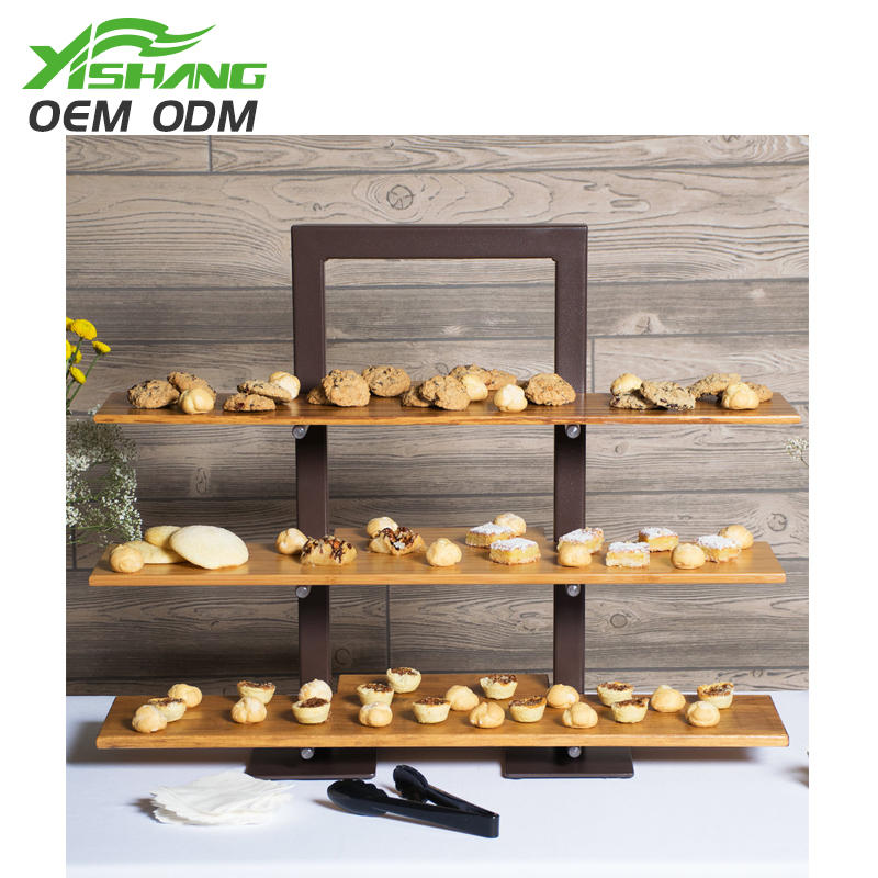 Custom 3 Tiers Wooden Cake and Bread Display Stand