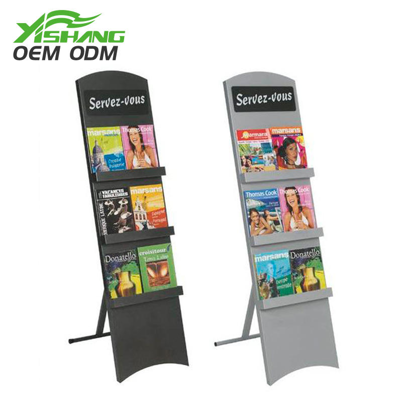 Custom Metal Magazine Display Rack 3 Tiers for Book Store