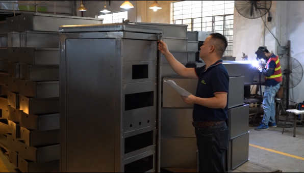 Sheet Metal Fabrication Company - Inspect Size for Custom Metal Cabinet Before Powder Coating